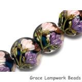10407412 - Four Pink & Purple Floral Lentil Beads