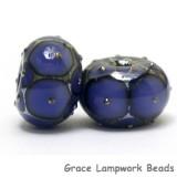 10407821 - Six Lavender w/Metal Dots Rondelle Beads