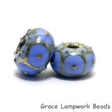 10410501 - Seven Periwinkle w//Metal Dots Rondelle Beads