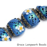 10414212 - Four Arctic Blue Florals Lentil Beads