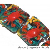 Red Crab Glass Beads Grace Lampwork