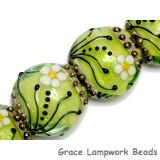 10508412 - Four Spring Green Florals Lentil Beads