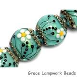 10508512 - Four Seafoam Florals Lentil Beads
