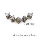 10601207 - Five Dark Amethyst w/Silver Foil Crystal Beads