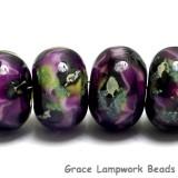 10605421 - Six Purple Meadow Rondelle Beads