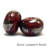 10704221 - Six Regal Red Metallic Rondelle Beads