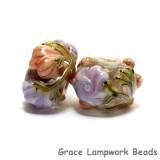10801001 - Seven Light Pink w/Orange Floral Rondelle Beads