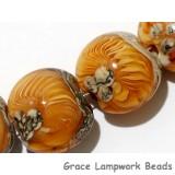 10801912 - Four Amber Wave Lentil Beads