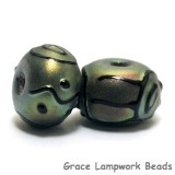 11203801 - Seven Green Pearl Surface w/Black Rondelle Beads