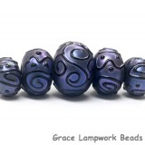 11204711 - Five Graduated Purple Pearl Surface Rondelle Beads