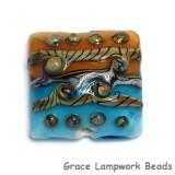 11806304 - Transparent Aqua w/Light Brown Focal Pillow Bead
