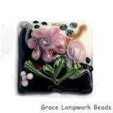 11809304 - White & Black w/Pink Flower Pillow Focal Bead
