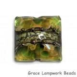 11813904 - Green w/Silver Foil Pillow Focal Bead