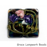 11814804 - Light Pink w/Purple Floral Pillow Focal Bead