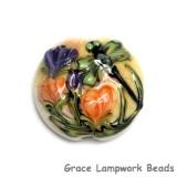 11816802 - Green Dragonfly w/Orange Flora Lentil Focal Bead