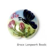 11835002 - Blue Sparkle Garden Butterfly Lentil Focal Bead