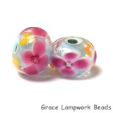 PR08 Clearance - Two Pink Floral w/Light Blue Core Rondelle Beads