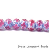3620201 Clearance - Seven Pink Floral w/Lavender Core Rondelle Beads