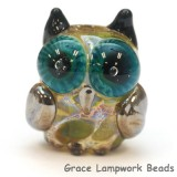 OWL-M-04- Olive green dots free style owl bead, size M