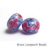 PR06 Clearance - Two Pink Floral w/Lavender Core Rondelle Beads