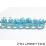 ST11 Clearance - Seven Light Blue with Silver Dichroic Rondelle Beads