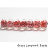 ST12 Clearance - Seven Red with Silver Dichroic Rondelle Beads