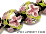 10106512 - Four Pink/Black/Green Silver Foil Lentil Beads
