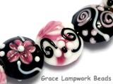 10107102 - Seven Black & White w/Pink Lentil Beads