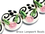 10107512 - Four White w/Black & Pink Flowers Lentil Beads