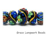 10201211 - Five Graduated Black Based Fiesta Rondelle Beads