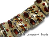 10305004 - Seven Brown Dark w/Ink Blue Dots Pillow Beads