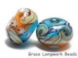 10405501 - Seven Amber Ocean Rondelle Beads