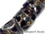 10407304 - Seven Black w/Purple Silver Foil Pillow Beads