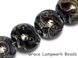 10407312 - Four Black w/Ink Blue Silver Foil Lentil Beads