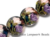 10407412 - Four Pink & Purple Floral Lentil Beads