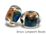 10409301 - Seven Blue & Orange Boro Rondelle Beads