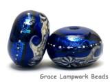 10411421 - Six Cobalt Celestial Rondelle Beads