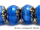 10413421 - Six Arctic Blue Shimmer Rondelle Beads