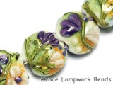 10504502 - Seven White w/Purple Flora Lentil Beads