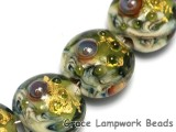 10505202 - Seven Emerald Treasure Lentil Beads