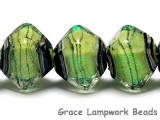 10507707- Five Spring Green Shimmer Crystal Shaped Beads