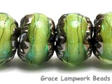 10507721 - Six Spring Green Shimmer Rondelle Beads