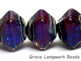 10604007 - Five Violet Shimmer Crystal  Shaped Beads