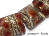 10703804 - Seven Transparent Red w/Silver Foil Pillow Beads