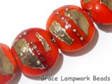 10705012 - Four Electric Orange Metallic Lentil Beads