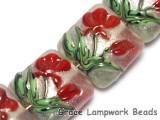 10706114 - Four Crimson Flower Pillow Beads