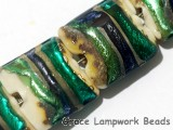 11005514 - Four Green/Ivory Pillow Beads