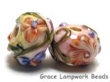 11005801- Seven Purple w/Orange Flora Rondelle Beads