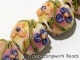 11005812 - Four Purple w/Orange Flora Lentil Beads