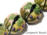 11005912 - Four Green Dragonfly Lentil Beads